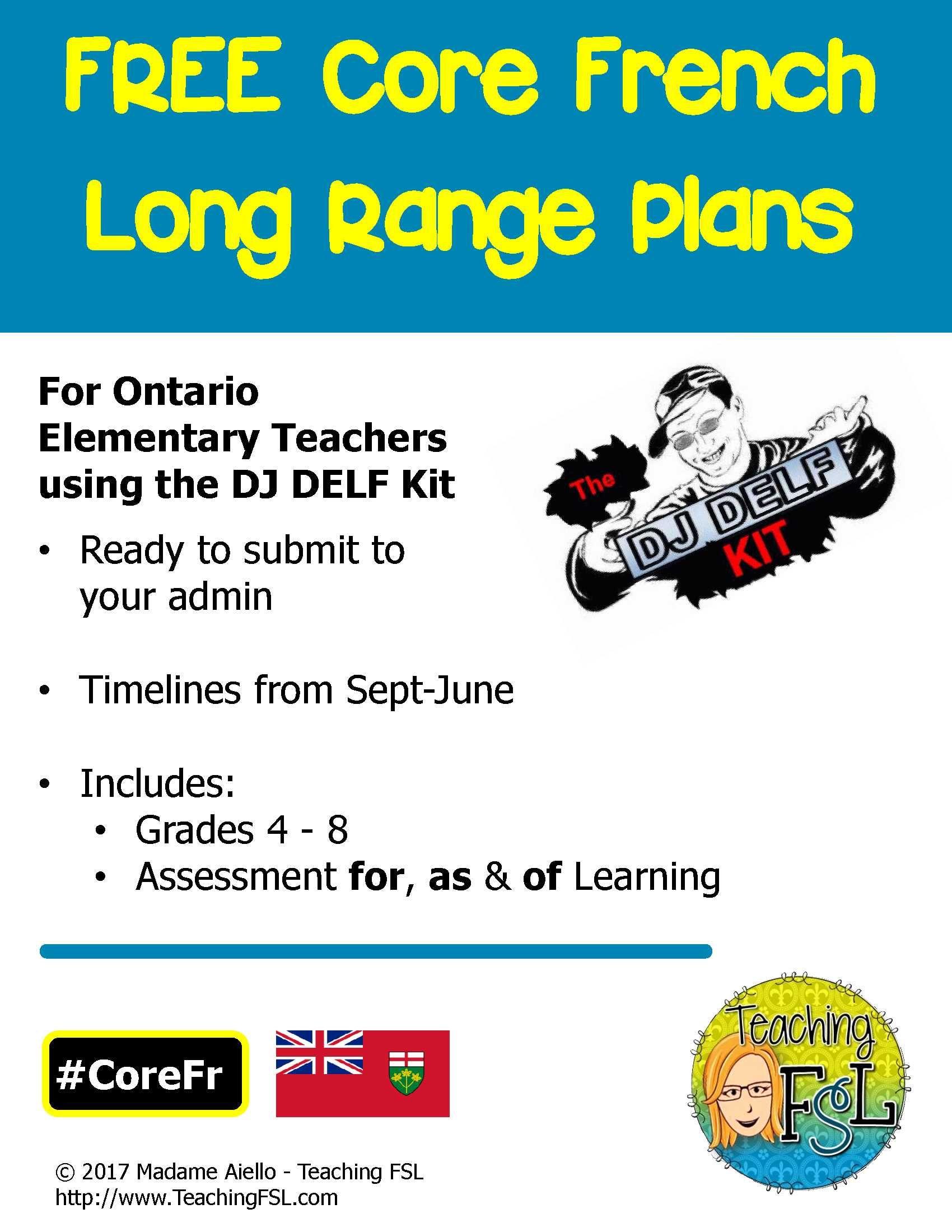 Long Range Plans Ontario Core French For Dj Delf Kit