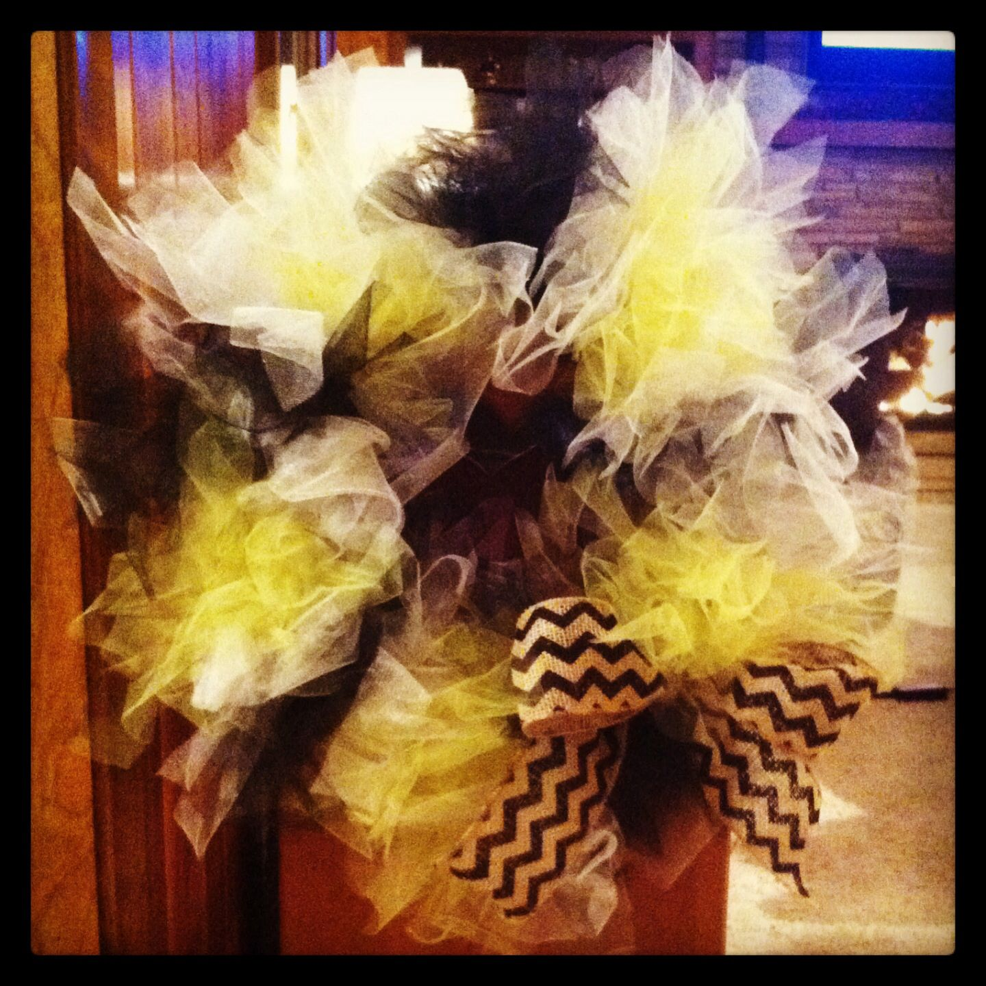 wsu wreath super simple just tulle and a wire wreath form and ribbon - Wire Wreath Frame Hobby Lobby