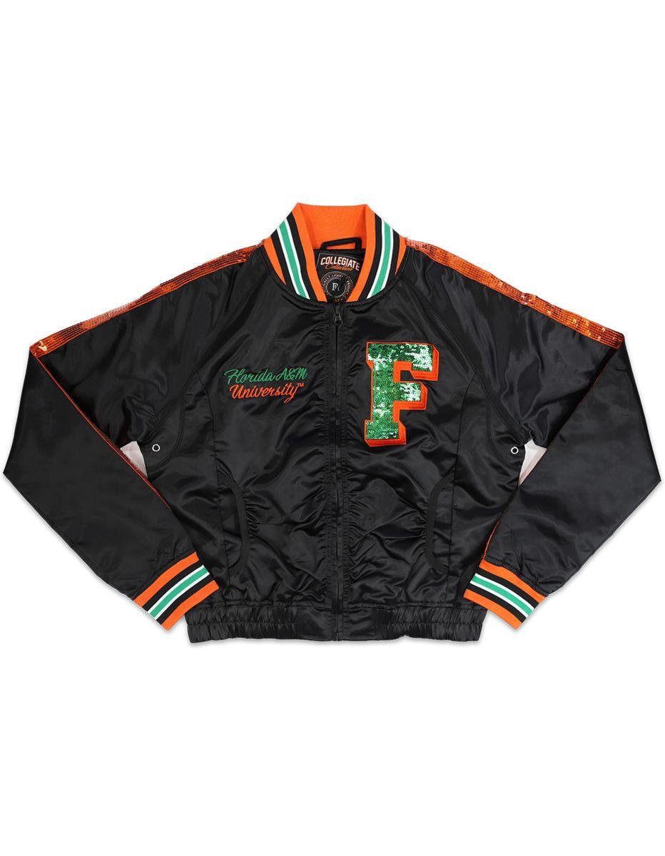Florida A M University Famu Satin Sequin Jacket Sequin Jacket Jackets Varsity Jacket [ 1200 x 932 Pixel ]
