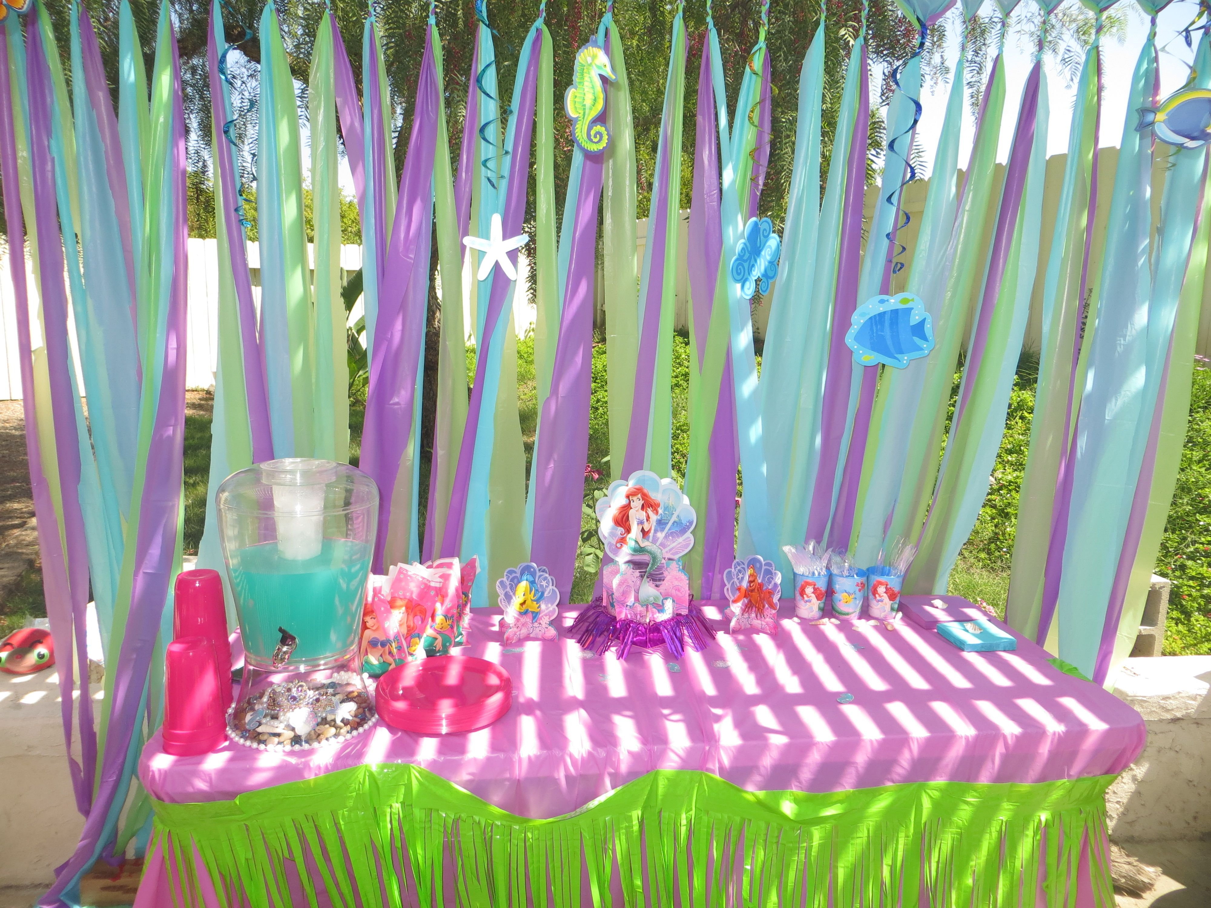Arianna 39 s 3rd birthday party decorations the little for Ariel decoration party