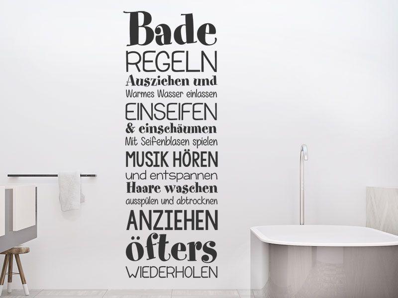 Wandtattoo Baderegeln Wandtattoos Wandtattoo Wandtattoo Badezimmer
