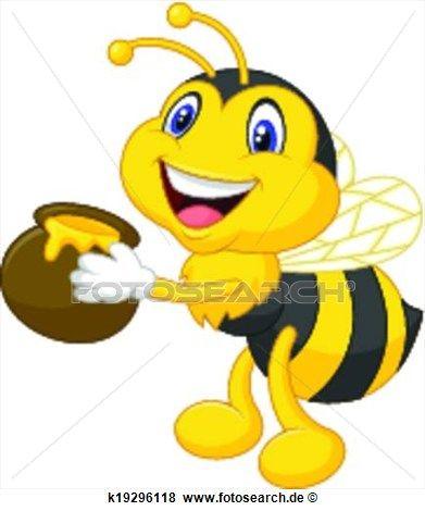 Biene Karikatur Halten Honigeimer Clip Art