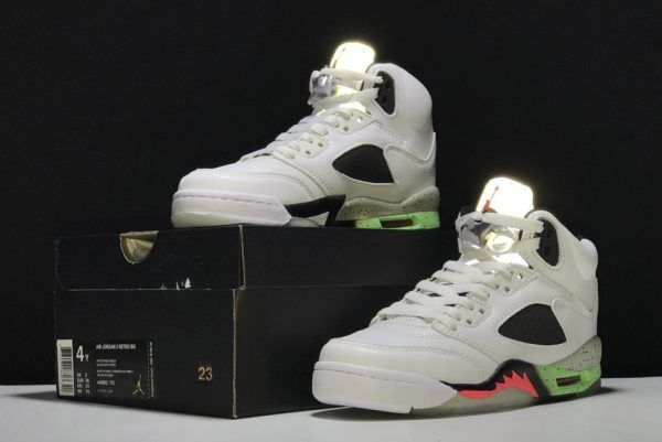 pretty nice 5d6e2 6489b Buy Air Jordan 5 Retro ProStars White Infrared 23-Light Poison Green-Black  For