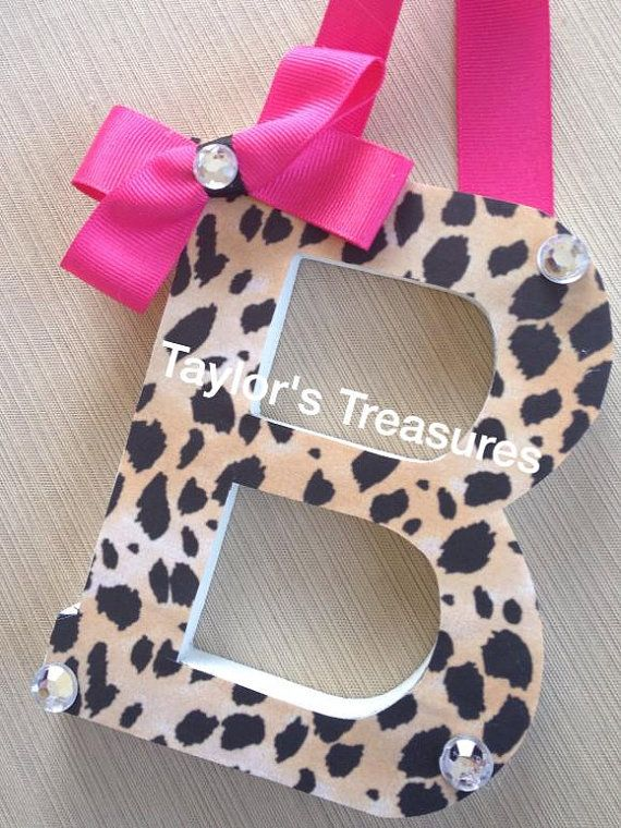 Taylors Treasures - Hanging Wall Letters - Leopard Tween Teen Nursery Letters - Can Do Whole Name - Any Patterns/Colors on Etsy, $8.49