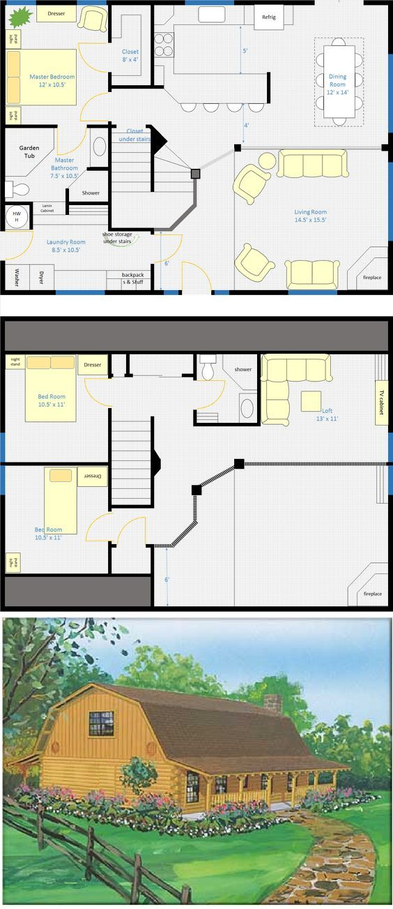 This is my revised 30x40 barn house 3 bedrooms, 2 bathrooms, 2