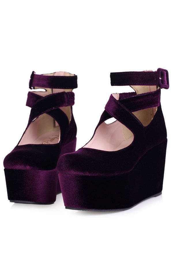 Cross Strap Velvet Wedges - OASAP.com I love these I want them purple shoes! 14d7afb47f