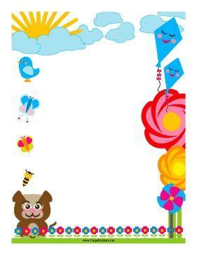 Flowers and kites adorn this colorful border. Free to download and ...