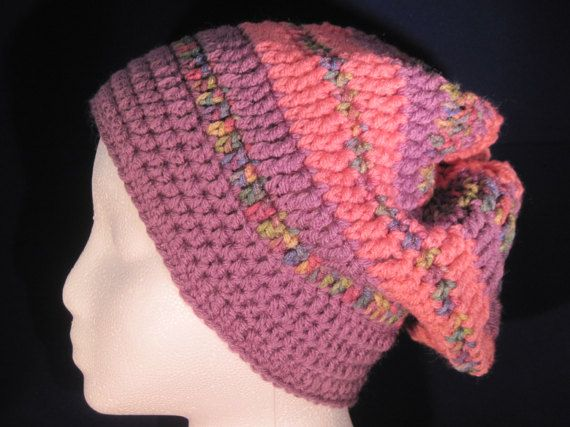 pink and purple slouchy by HatsForHumansByCarol on Etsy