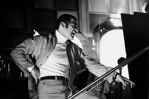 """Director Sydney Pollack on the set of """"They Shoot Horses, Don't They?""""(1969). Photo: Bob Willoughby."""