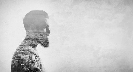 Double exposure concept with bearded man