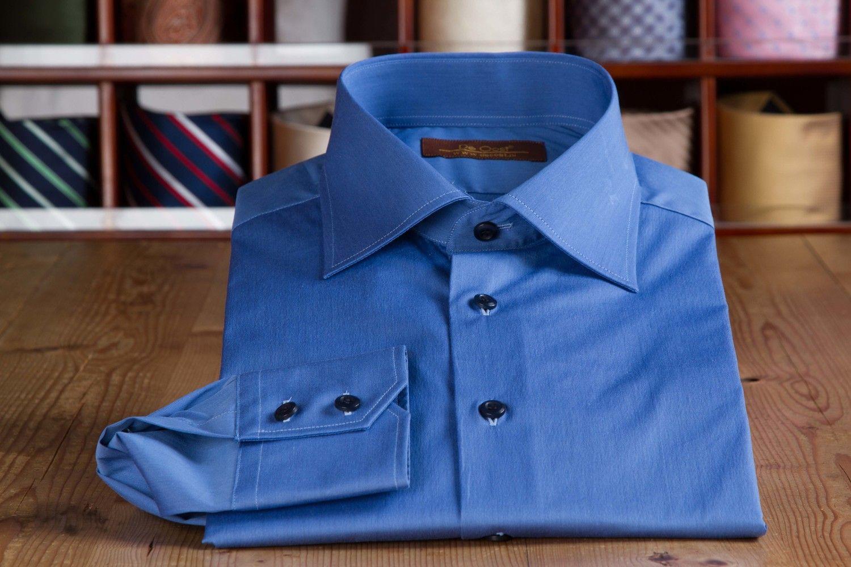 Ultra Marin Sea Island Cotton Dress Shirt De Oost Bespoke