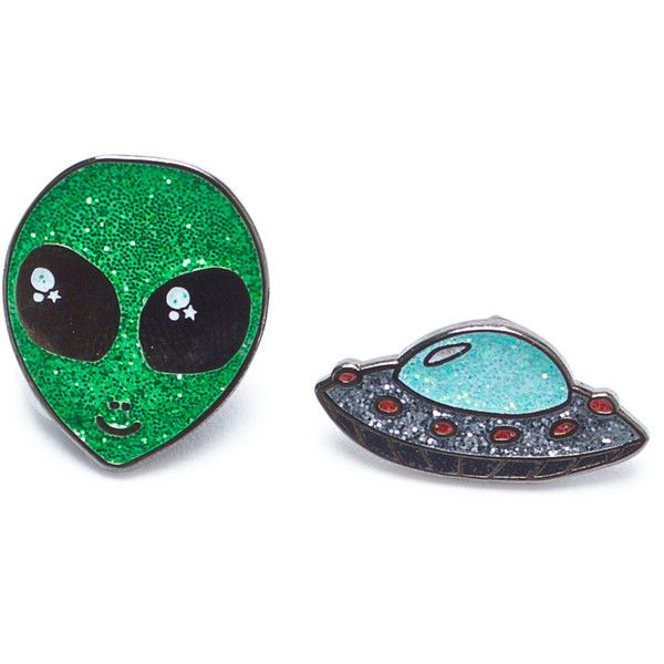 Outta This World Enamel Pin Set ($15) ❤ liked on Polyvore featuring jewelry, enamel jewelry and pin jewelry