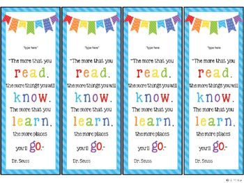 free editable personalized bookmarks word work literacy