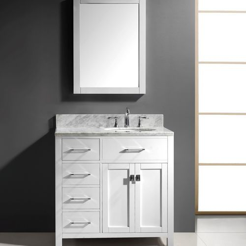Transitional 36 left drawers single sink bathroom vanity - Bathroom vanity with drawers on left ...