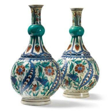 Iznik Design Ceramic Vase Pair Of Samson Porcelain Iznik Style
