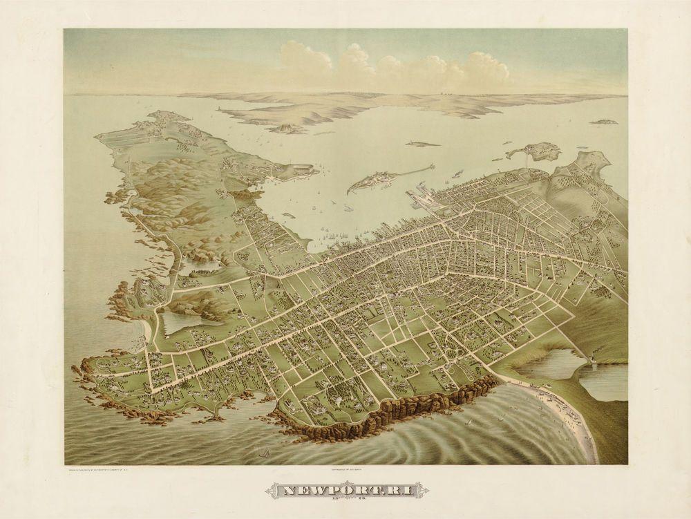 1878 Newport Rhode Island City View Historic
