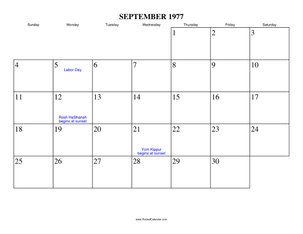 Free Printable Calendar For September 1977 View Online Or Print In