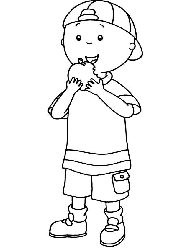 Caillou Eating Apple Coloring Page Coloring Sun Apple Coloring Pages Coloring Pages Apple Coloring