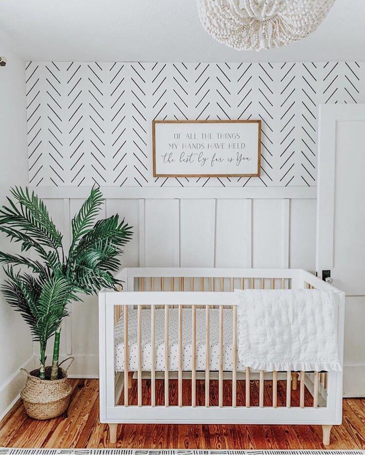 Beautiful Gender Neutral Nursery Inspiration With Delicate Herringbone Remov Gender Neutral Nursery Inspiration Nursery Inspiration Neutral Kids Room Wallpaper