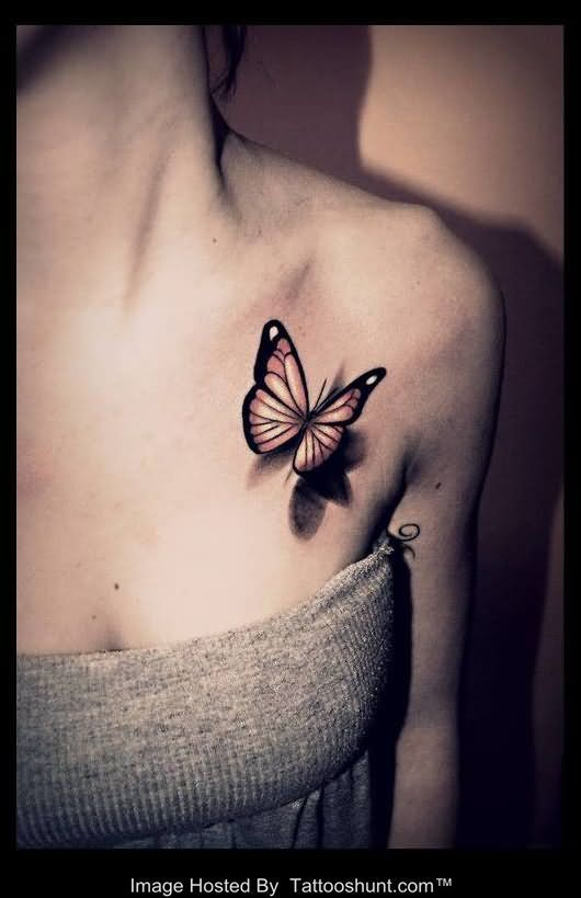 butterfly 3d tattoo on 530 819 ink. Black Bedroom Furniture Sets. Home Design Ideas