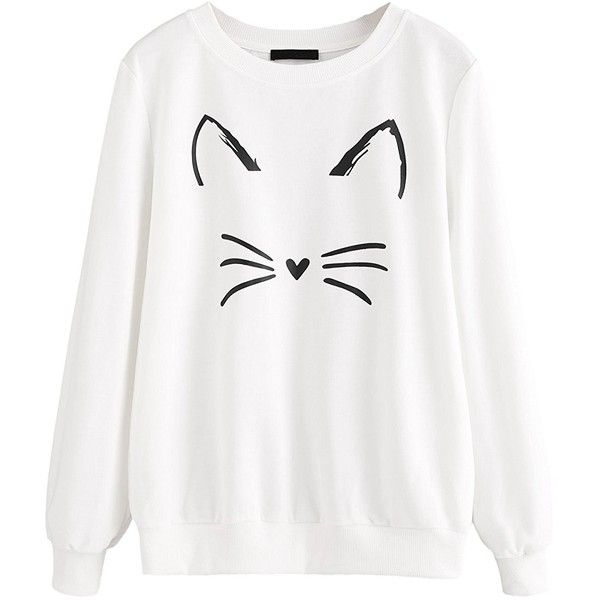 Romwe Women s Cat Print Sweatshirt Long Sleeve Loose Pullover Shirt ❤ liked  on Polyvore featuring tops 03d821d435
