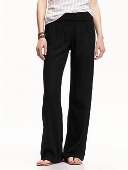 Old Navy Women/'s Black Linen Blend Pants Size XL