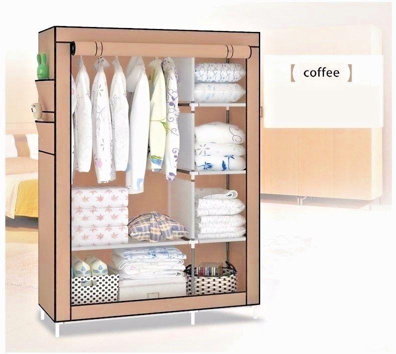 Portable Clothes Closet Canvas Wardrobe Storage Organizer With Shelves Grey Portable Wardrobe Portable Wardrobe Closet Portable Closet