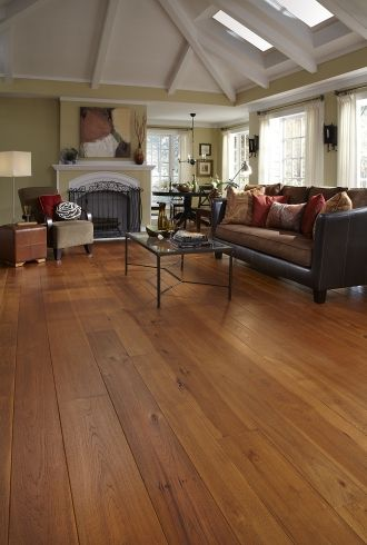 Brushed Hickory Living Room Carlisle Wide Plank Flooring
