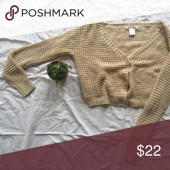 Beige, Button-up Knit Sweater 75% Acrylic, 25% Wool, long-sleeve beige, knit oversized crop sweater Sweaters Cardigans
