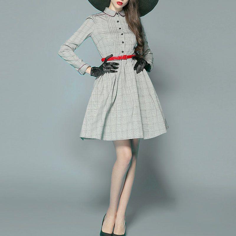 【フィット\u0026フレアのグレンチェック長袖膝丈1950sクラシックシャツワンピースドレス】