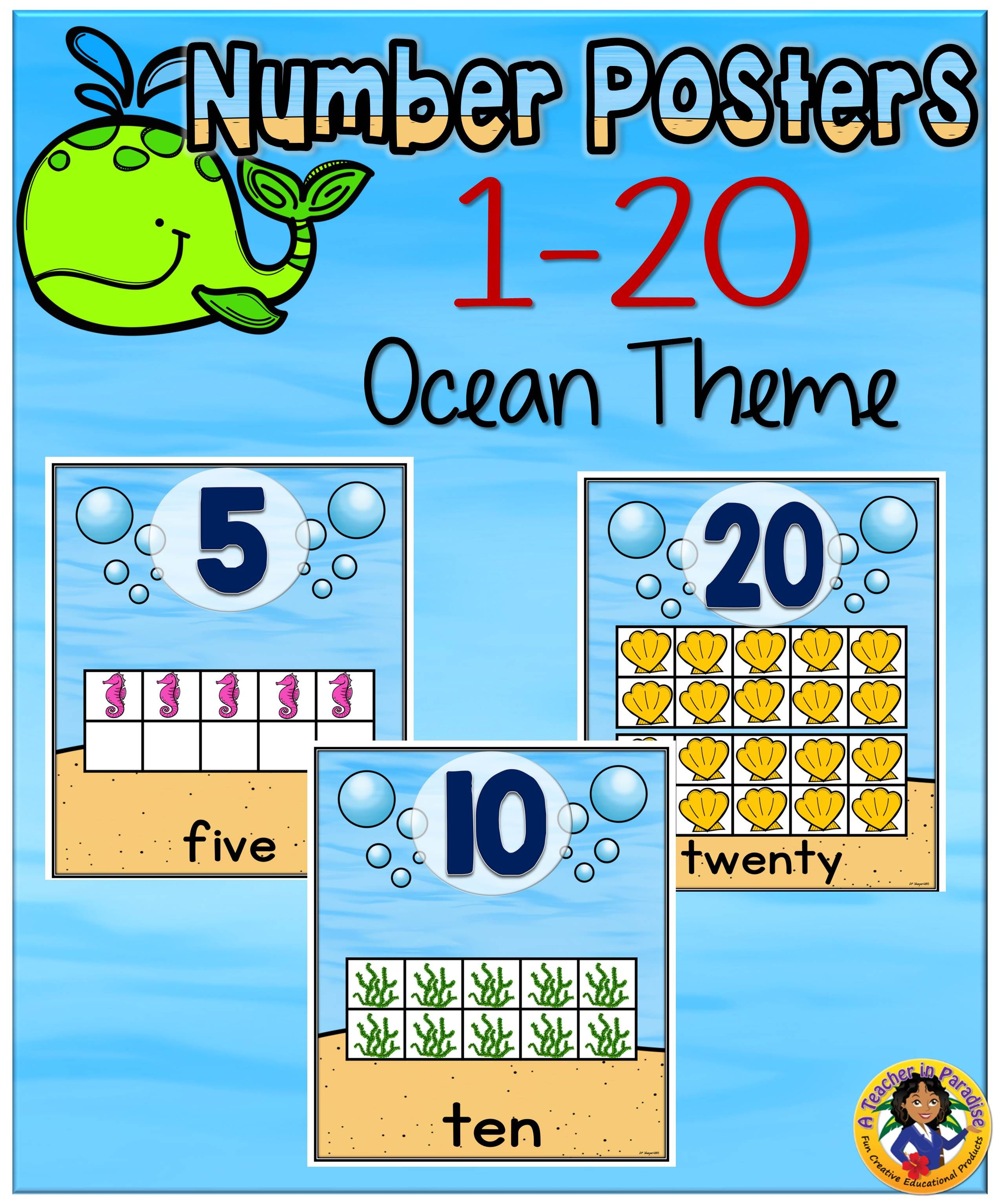 Ocean Theme Number Frames Posters 1 20