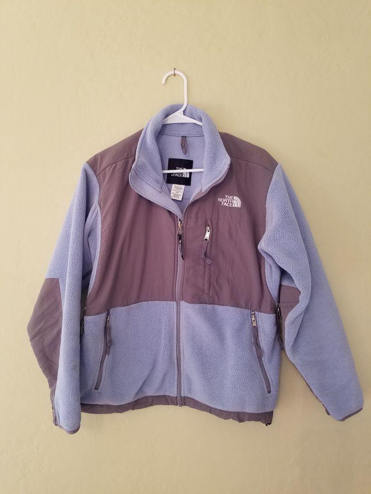 7556add205bf The North Face Denali Fleece Hooded Jacket Womens Size Medium Baby Blue  Light Gr  fashion