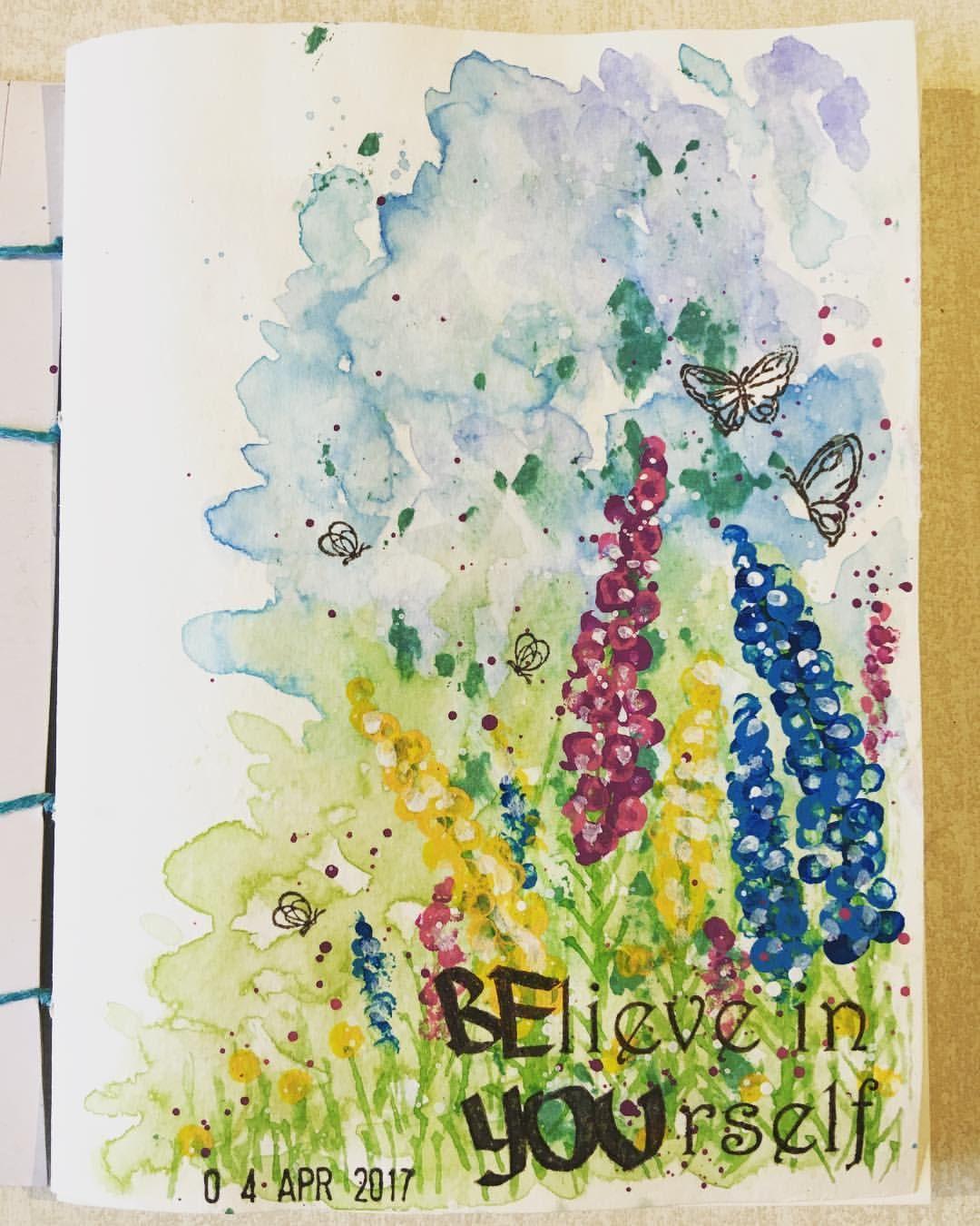 "168 gilla-markeringar, 10 kommentarer - Melina Dahl 🇸🇪 (@minaskreativa) på Instagram: ""Lupins and dandelions, art journal page #artjournal #artjournaling #mixedmedia #watercolor…"""