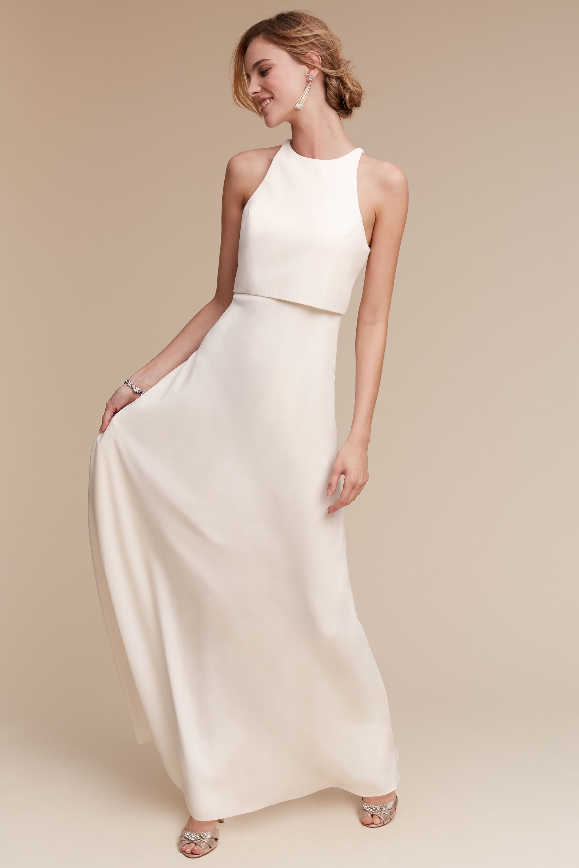 Silhouette wedding dresses simple bridal  Iva Crepe Maxi from BHLDN for rehearsalshower partydresses
