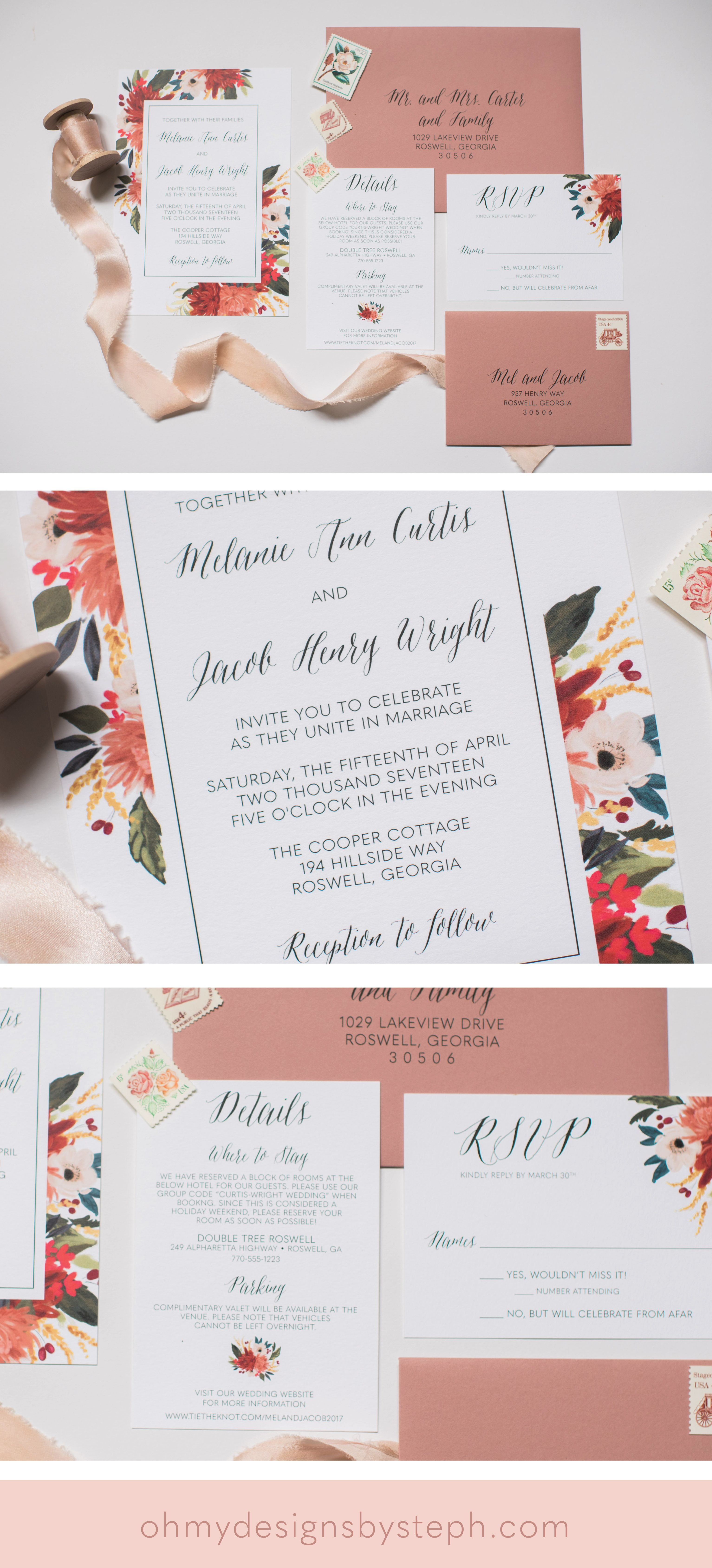 Dusty Rose Floral Wedding Invitations by oh my designs | Invitations ...
