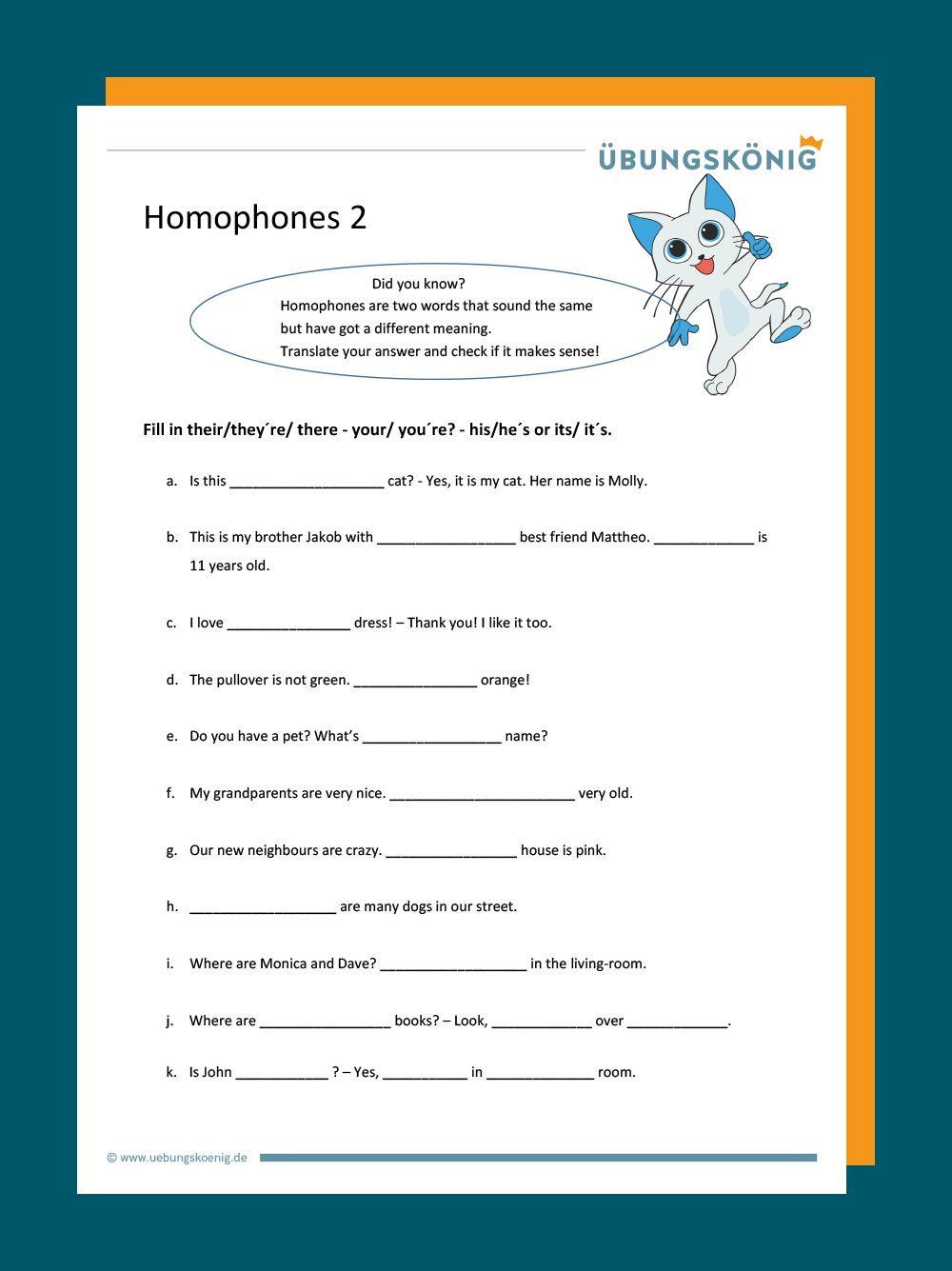 Kostenlose Arbeitsblätter und Audiodateien zu den Homophones they ...