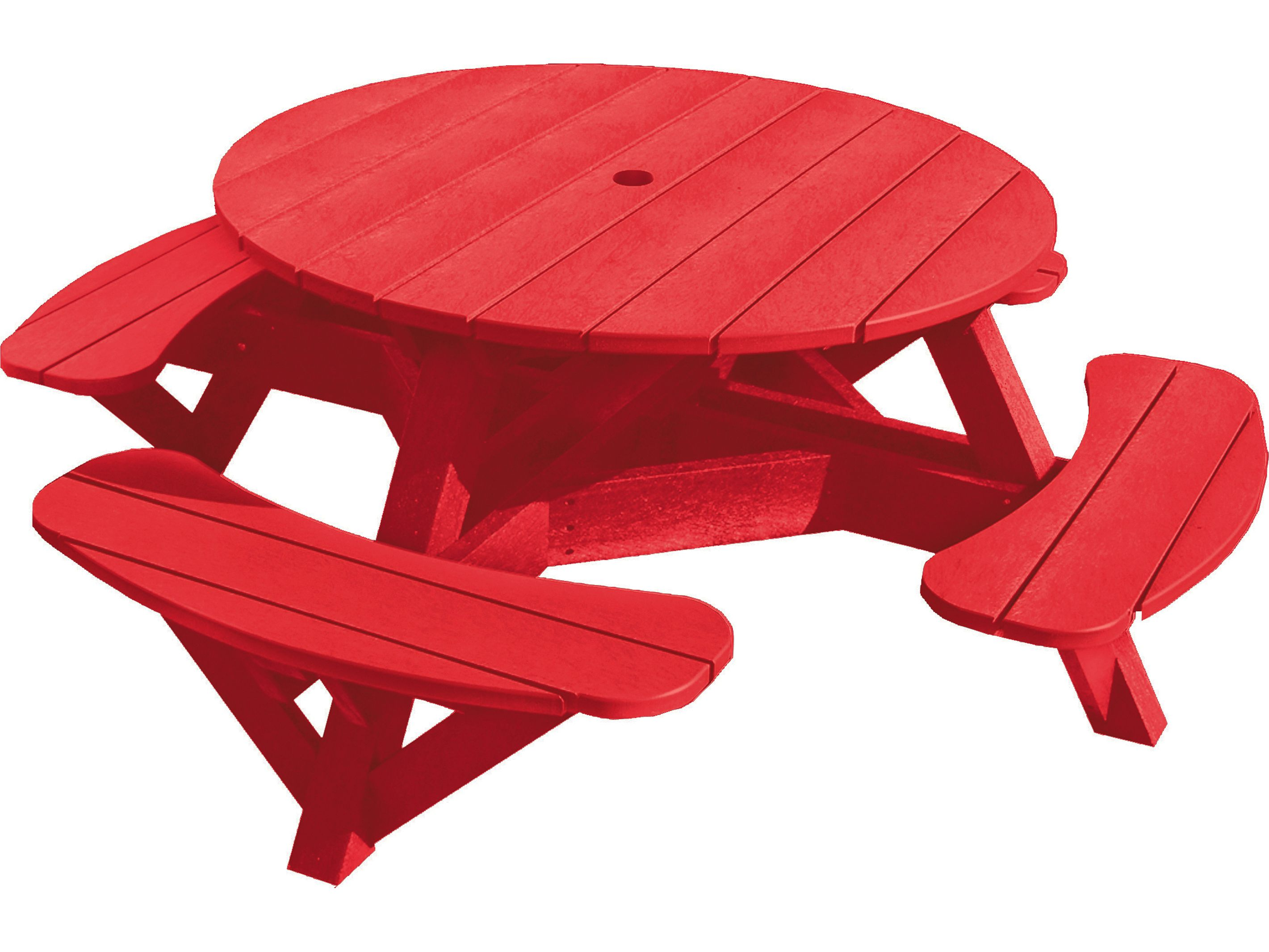 Garden And Patio Small Round Red Recycled Plastic Picnic Table With Swing Out Bench For Children Ideas