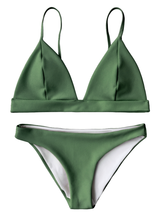 de7bfd722b AD   Cami Plunge Bralette Bikini Top and Bottoms - GREEN Swimwear Type   Bikini Gender  For Women Material  Polyester