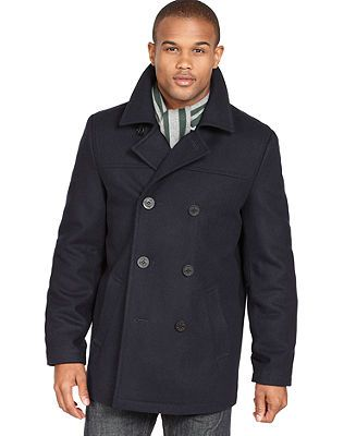 Tommy Hilfiger Big and Tall Coat, Melton Wool-Blend Peacoat ...