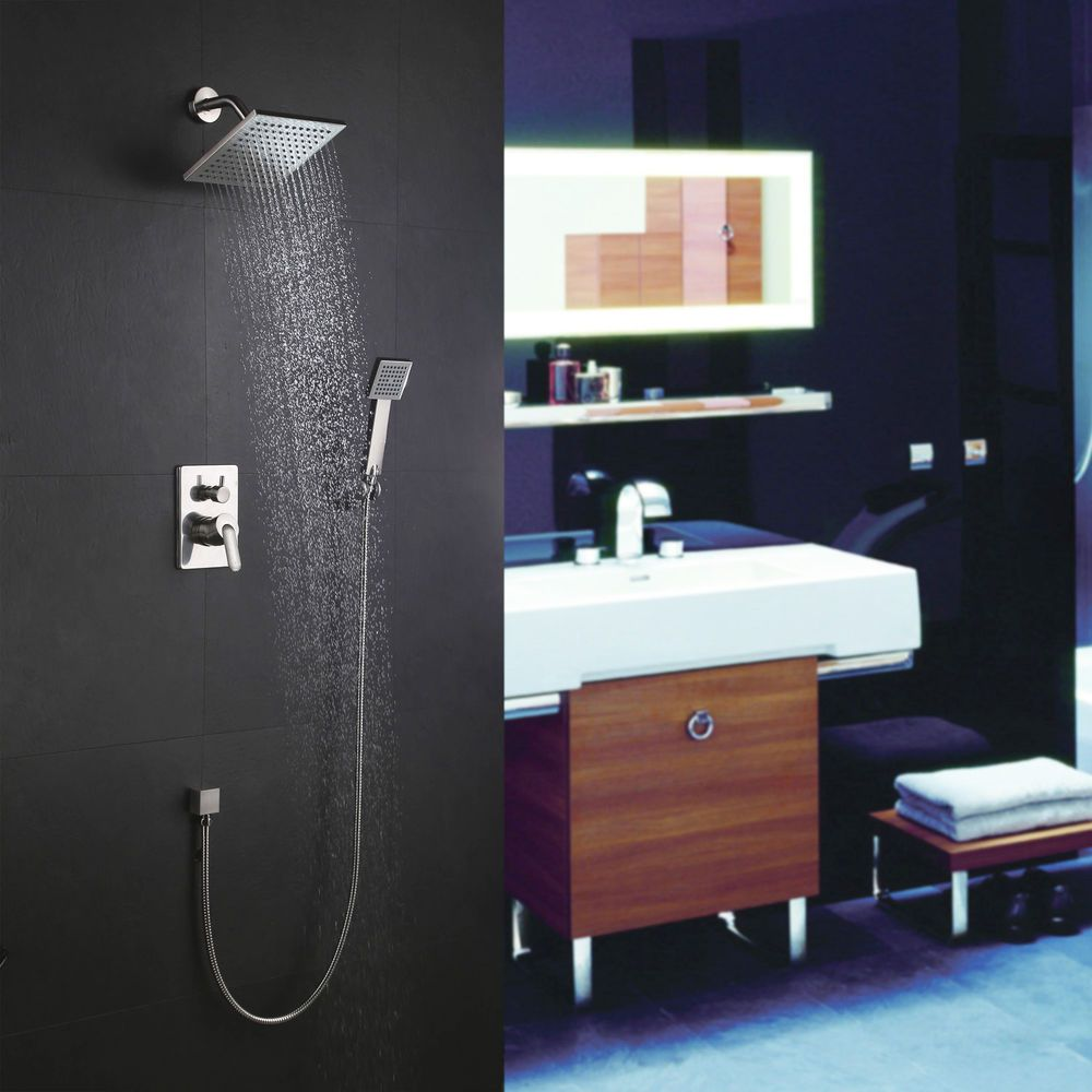 Modern 2-Function Concealed Brushed Nickel Mixer Shower Set with ...