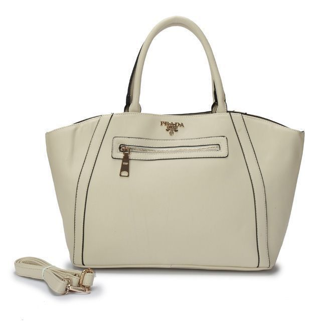 e8c71b1db62f Prada Glace Calf Small Twin-Pocket Tote White