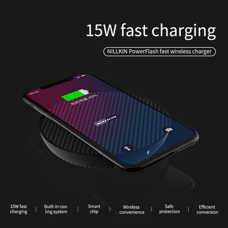 Samsung Galaxy S10//S9//+ No AC Adapter with Colorful Led Light for iPhone Xs//XS MAX XR//X Google Pixel 3//3 XL and More - Magic Array 15W//10W//7.5W//5W Nillkin Fast Wireless Charger
