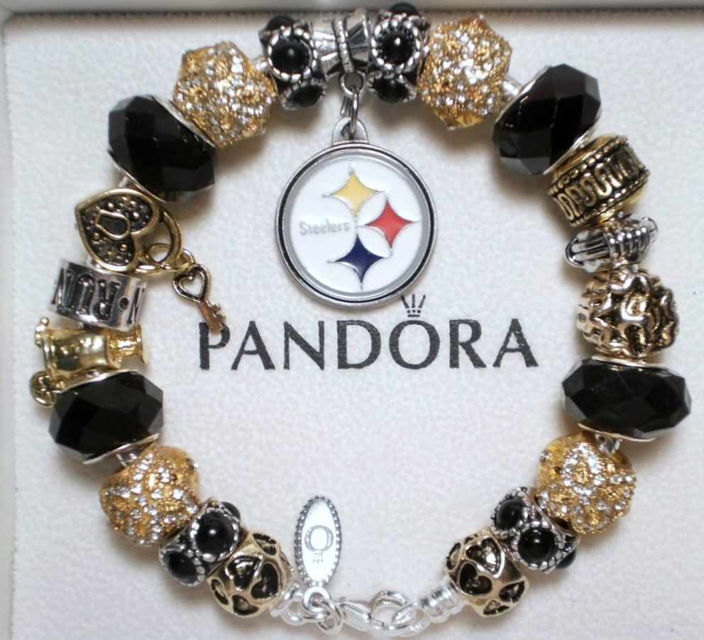 Authentic Pandora Sterling Silver Charm Bracelet With Charms Pittsburgh Steelers Jewelry Watches Fashion Bracelets Ebay
