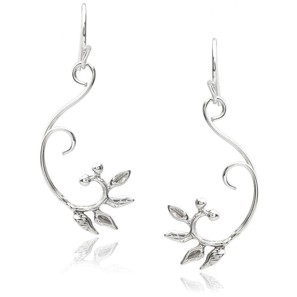 Journee Collection Sterling Leaf Earrings, Women's