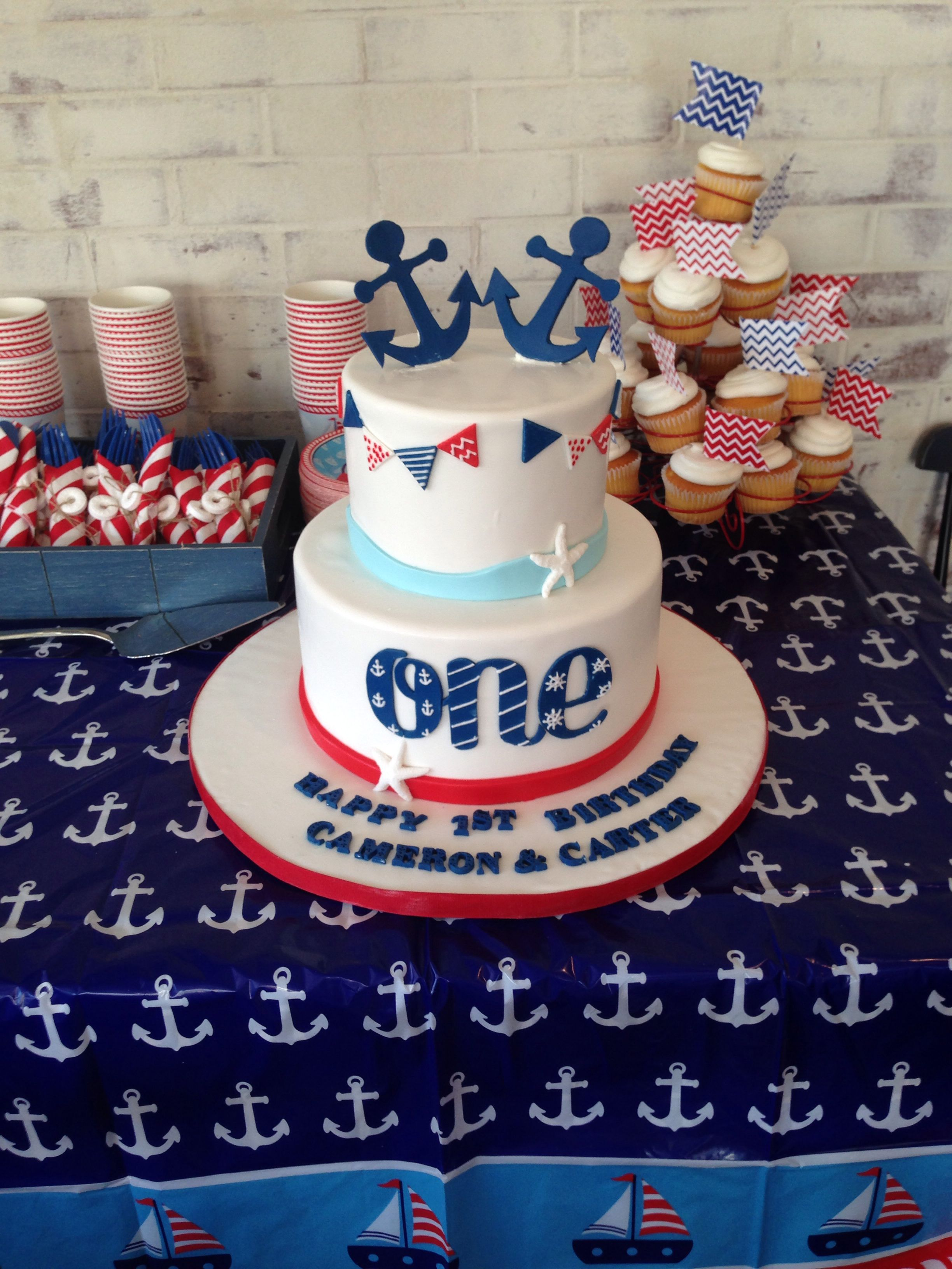 Marvelous Twins First Birthday Cake First Birthday Party Sailor Theme Personalised Birthday Cards Sponlily Jamesorg