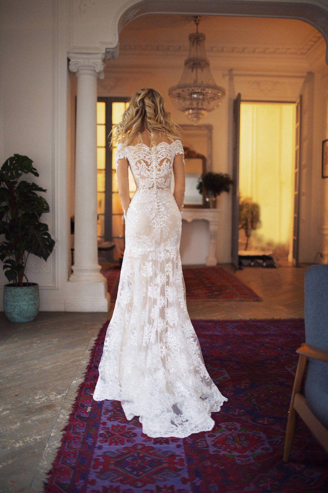off the shoulder wedding dress, Nektaria long sleeve lace