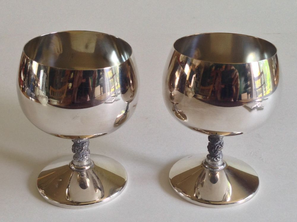 Birks Primrose Vintage Silverplated Wine Goblets