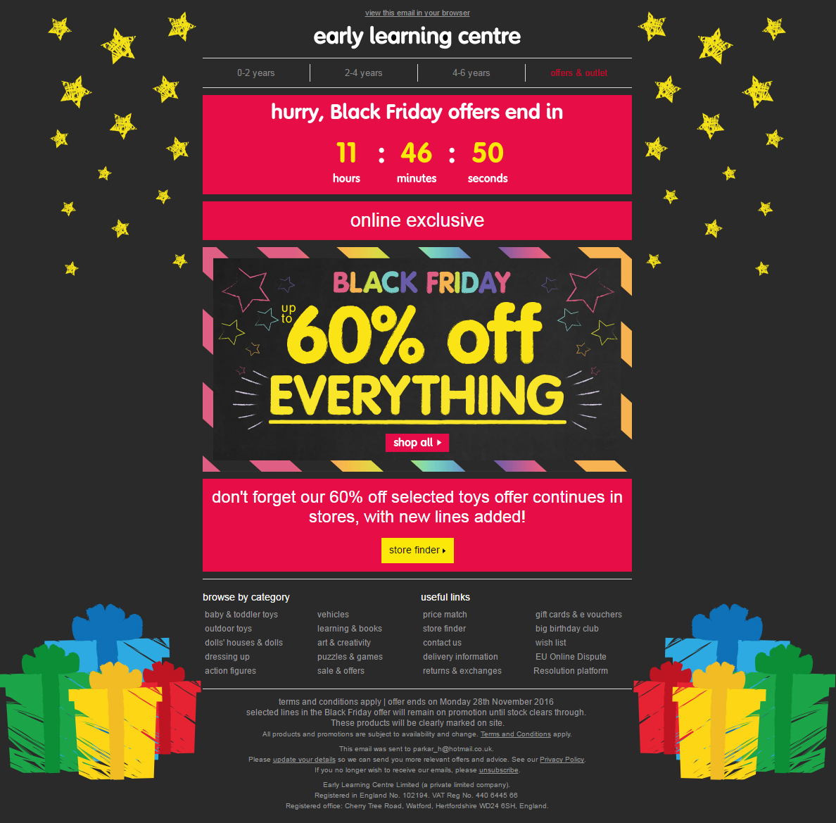 Black Friday Email With Countdown Timer From The Early Learning Centre Emailmarketing Email Marketin Black Friday Email Early Learning Early Learning Centre
