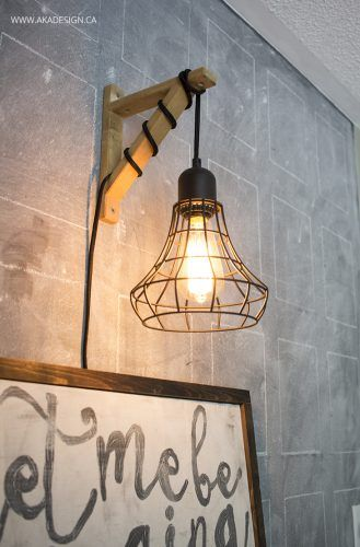 Hanging Cage Light From A Plug In Light And A Wood Bracket Diy