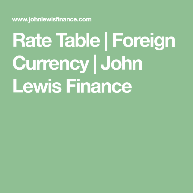 Rate Table Foreign Currency John Lewis Finance Currency